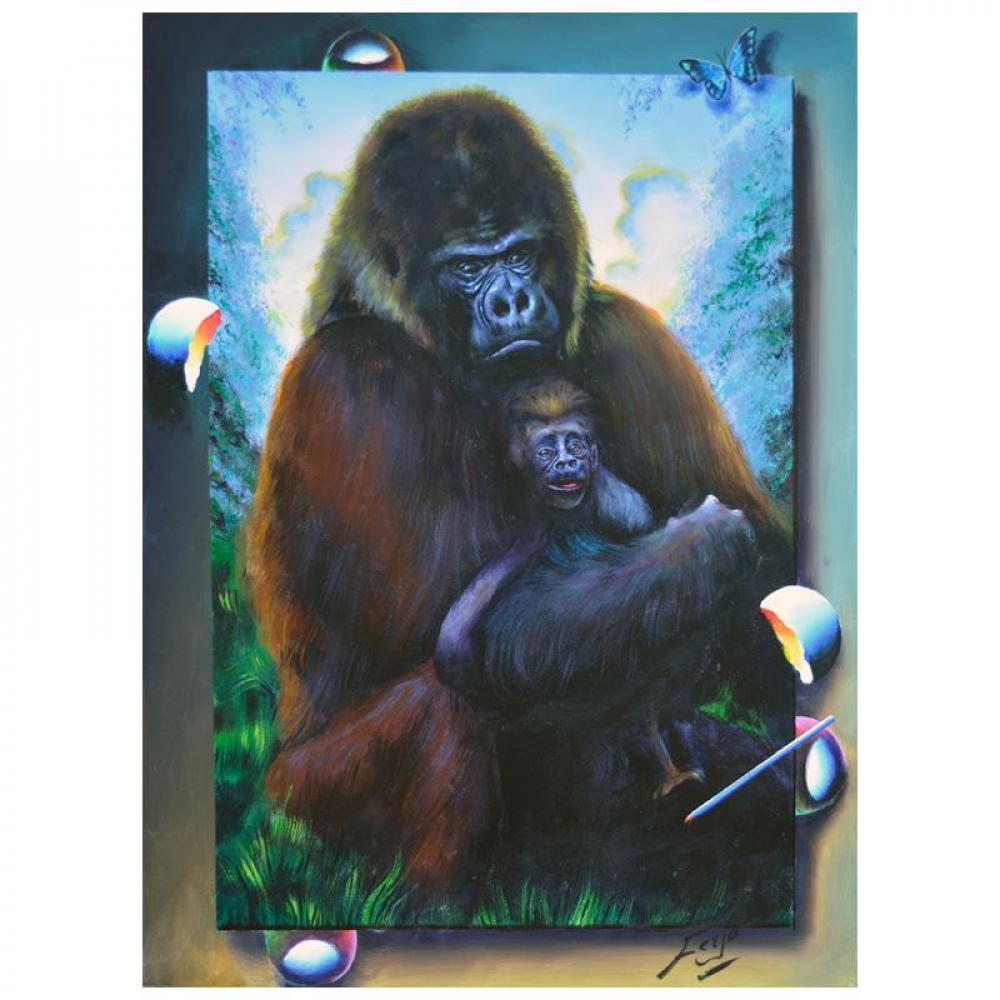 """Ferjo Signed """"A Mother's Care"""" 30x24 Original Painting on Canvas at PristineAuction.com"""