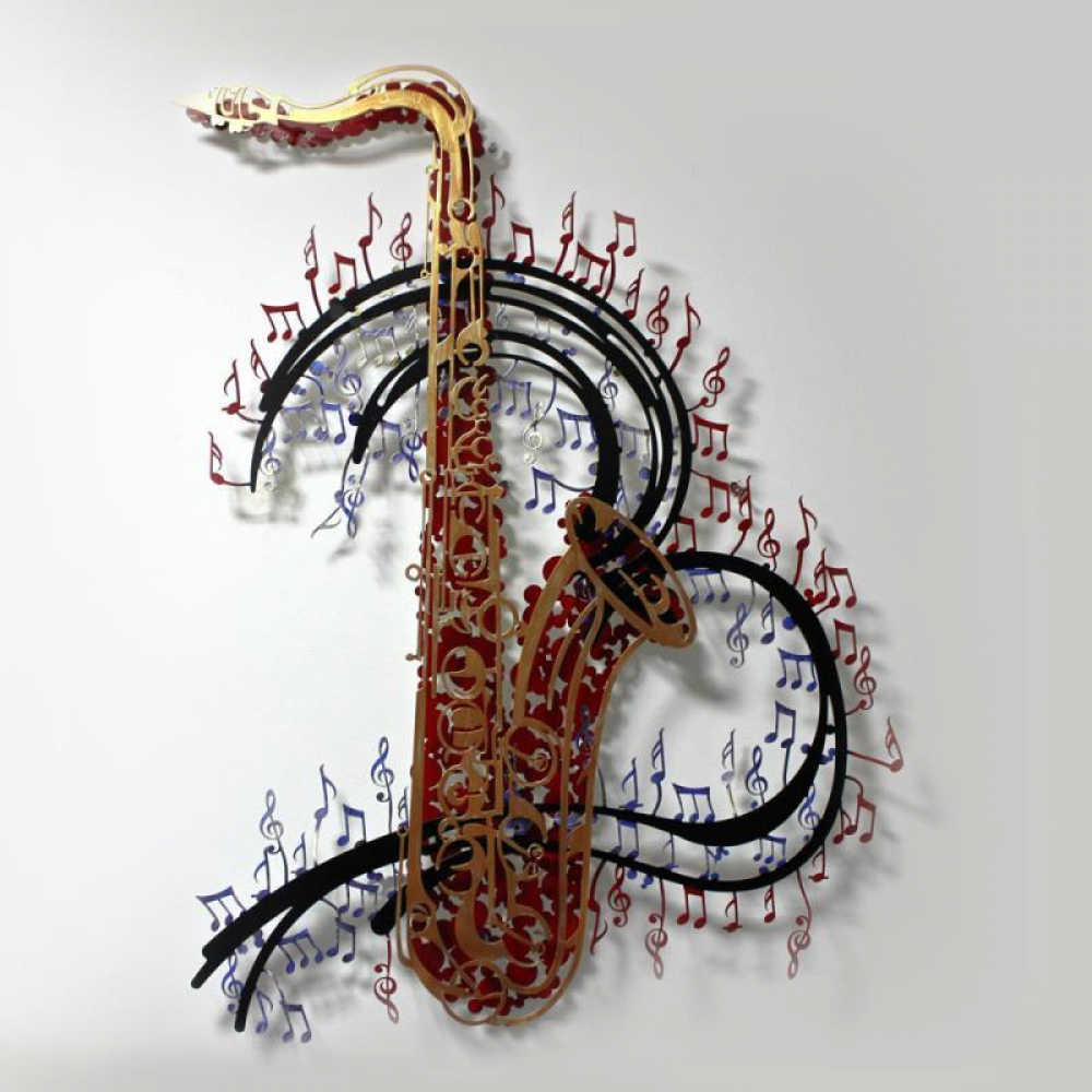 """Patricia Govezensky Signed """"Orchestra"""" 28x37 Original Painting on Cutout Steel at PristineAuction.com"""