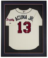 Ronald Acuna Jr. Signed Braves 32x42x2 Custom Framed Jersey Display (JSA COA) at PristineAuction.com