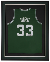 Larry Bird Signed 31x36 Custom Framed Jersey Display (Bird Hologram) at PristineAuction.com