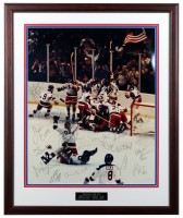 1980 USA Olympic Hockey 21.5x26.5 Custom Framed LE Photo Team-Signed by (20) with Herb Brooks, Bob Suter, Mike Eruzione, Jim Craig (JSA Hologram) at PristineAuction.com