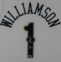Zion Williamson Signed Pelicans 35x43 Custom Framed Jersey Display (Fanatics Hologram) at PristineAuction.com