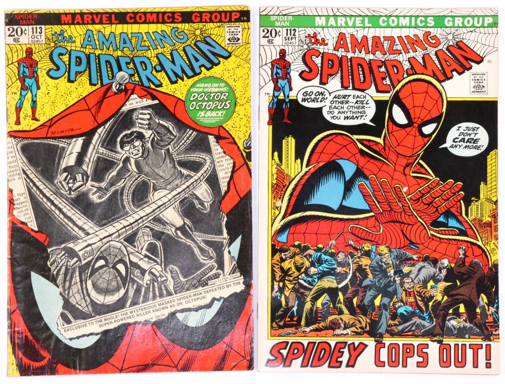 "Lot of (2) ""The Amazing Spider-Man"" Marvel Comic Books with Issues Ranging From #112-113 at PristineAuction.com"