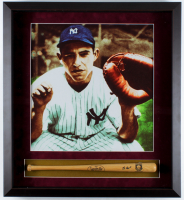 Yogi Berra Signed Yankees 21.75x23.75 Custom Framed Mini-Bat Shadowbox Display (JSA COA) at PristineAuction.com