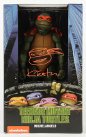 """Kevin Eastman Signed """"Teenage Mutant Ninja Turtles"""" - Michelangelo - NECA 1:4 Scale Action Figure with Hand-Drawn Turtles Sketch (PA COA) at PristineAuction.com"""