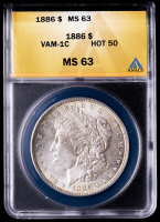 1886 Morgan Silver Dollar, VAM-1C Hot 50 (ANACS MS63) at PristineAuction.com