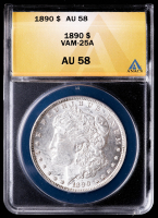 1890 Morgan Silver Dollar, VAM-25A (ANACS AU58) at PristineAuction.com
