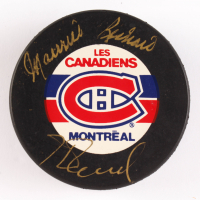 Maurice Richard & Henri Richard Signed Canadiens Logo Hockey Puck (JSA COA) at PristineAuction.com