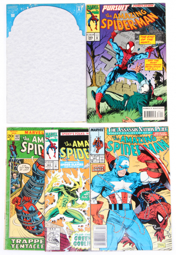 """Lot of (5) """"The Amazing Spider-Man"""" Marvel Comic Books with Issues Ranging From #107-400 at PristineAuction.com"""