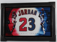 Michael Jordan 24x36 Custom Framed Jersey Number Display at PristineAuction.com