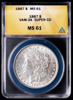 1887 Morgan Silver Dollar, VAM-3A Super CD (ANACS MS61) at PristineAuction.com