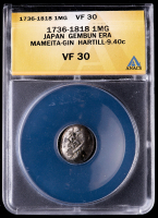 1736-1818 Japan, Gembun Era 1 Mameita-Gin Silver Coin (ANACS VF30) at PristineAuction.com