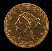 1850 $2.50 Liberty Head Quarter Eagle Gold Coin at PristineAuction.com
