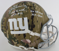 Eli Manning Signed Giants Full-Size Authentic On-Field Camo Alternate Speed Helmet with Mulitple Inscriptions (Fanatics Hologram) at PristineAuction.com