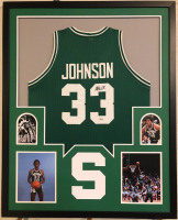 Magic Johnson Signed 34x42 Custom Framed Jersey (Beckett COA) at PristineAuction.com