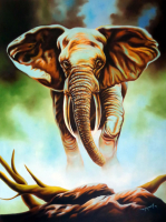 "Hector Monroy ""Giant of the Jungle"" 24x32 Oil Painting on Canvas at PristineAuction.com"