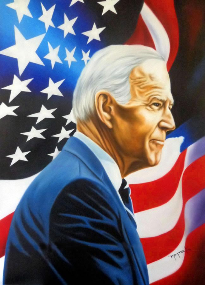 """Hector Monroy """"Joe Biden"""" 23.5x32 Oil Painting on Canvas at PristineAuction.com"""