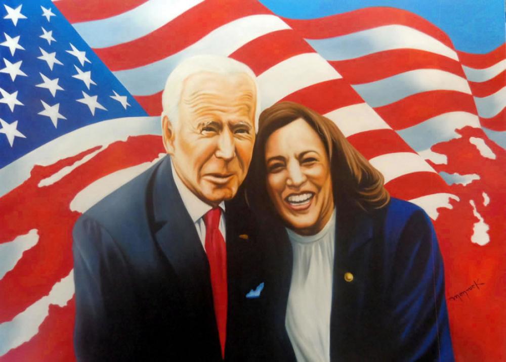 "Hector Monroy ""Joe Biden and Kamala Harris "" 23.5x32 Oil Painting on Canvas at PristineAuction.com"