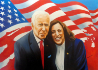 "Hector Monroy ""Joe Biden and Kamala Harris "" 23.5x32 Oil Painting on Canvas at PristineAuction.com"