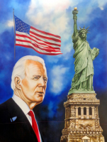 "Hector Monroy ""Joe Biden: Make America Great Again"" 27.5x36.5 Oil Painting on Canvas at PristineAuction.com"