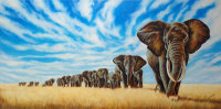 "Hector Monroy ""The Migration of Giants"" 24x47 Oil Painting on Canvas at PristineAuction.com"