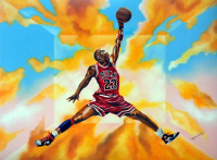 "Hector Monroy ""Michael Jordan"" 24x32 Oil Painting on Canvas at PristineAuction.com"