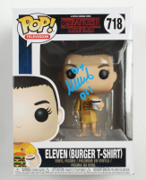 "Millie Bobby Brown Signed ""Stranger Things"" #718 Eleven (Burger T-Shirt) Funko Pop! Vinyl Figure Inscribed ""011"" (Beckett COA) at PristineAuction.com"