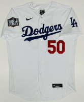 Mookie Betts Signed Dodgers Jersey with 2020 MLB World Series Logo Patch (Fanatics Hologram) at PristineAuction.com
