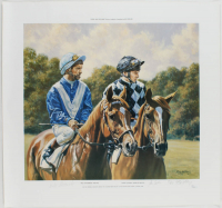 "Bill Shoemaker, Steve Cauthen & Roy Miller Signed LE ""Steve And The Shoe"" 23.5x25 Lithograph (JSA COA) at PristineAuction.com"