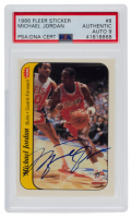 Michael Jordan Signed 1986-87 Fleer Stickers #8 (UDA Hologram & PSA Encapsulated) at PristineAuction.com