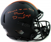"""Denzel Ward Signed Browns Full-Size Authentic On-Field Eclipse Alternate Speed Helmet Inscribed """"Welcome To The Dawg Pound"""" (JSA COA) at PristineAuction.com"""