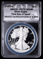 2014-W American Silver Eagle $1 One Dollar Coin - First Day of Issue, Black Eagle Label (ANACS PR70 Deep Cameo) at PristineAuction.com