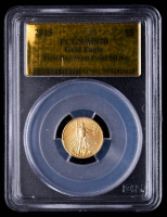2015 American Gold Eagle $5 Five Dollar 1/10 oz Gold Coin - First Day West Point Strike, Gold Foil Label (PCGS MS70) at PristineAuction.com