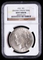 Mint Error - 1922 Peace Silver Dollar, Obverse Struck Through (NGC Encapsulated) at PristineAuction.com