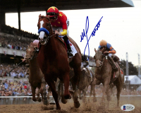 Mike Smith Signed 2018 Belmont Stakes 8x10 Photo with Justify (Beckett COA) at PristineAuction.com