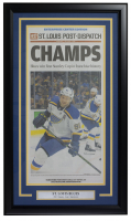 2019 Blues Stanley Cup Champions 18x30 Custom Framed Newspaper Cover Page Display at PristineAuction.com