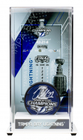 Victor Hedman Signed 2020 Lightning Stanley Cup Champions Logo Hockey Puck With Display Case (Fanatics Hologram) at PristineAuction.com