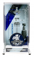 Andrei Vasilevskiy Signed 2020 Lightning Stanley Cup Champions Logo Hockey Puck With Display Case (Fanatics Hologram) at PristineAuction.com