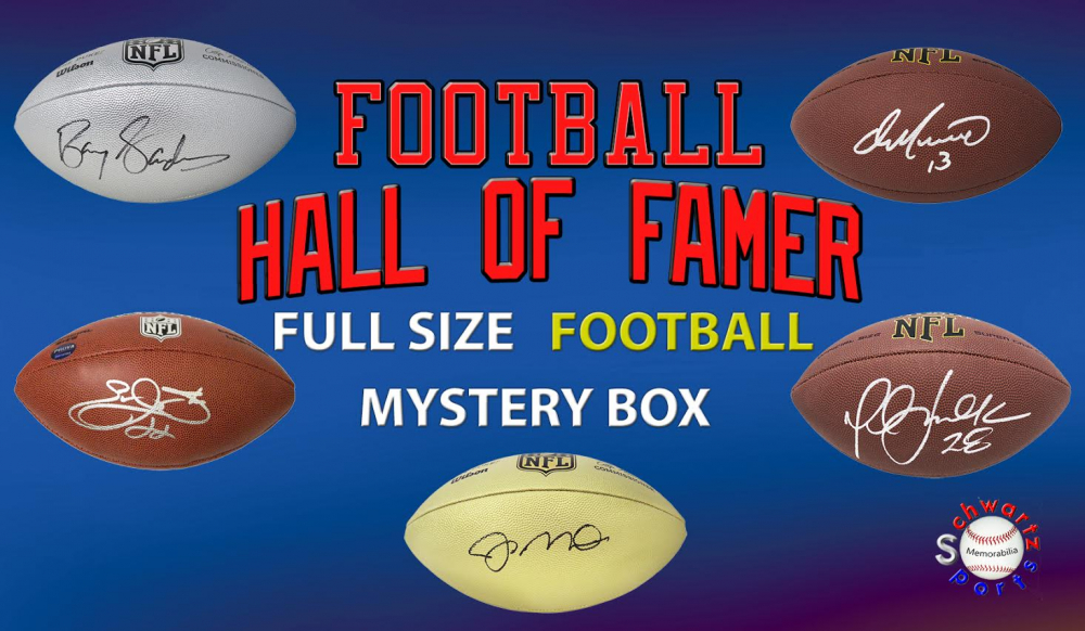 Schwartz Sports Football Hall of Famer Signed Full Size Football Mystery Box – Series 8 (Limited to 100) at PristineAuction.com