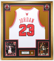 Michael Jordan 33x37 Custom Framed Jersey With Pin at PristineAuction.com