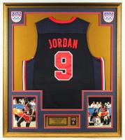 Michael Jordan 33x37 Custom Framed Jersey Display with Vintage USA Basketball Pin & Olympic Basketball Pin at PristineAuction.com