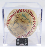 ONL Baseball Signed by (21) With Tom Lasorda, Steve Sax, Steve Yeager, Don Newcombe with Display Case (Sportscards LOA) at PristineAuction.com