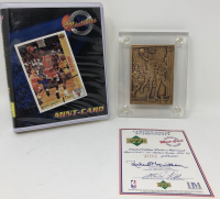 Michael Jordan 1998 Upper Deck Highland Mint Bulls Bronze Card with Original Packaging at PristineAuction.com