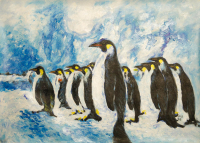 "Rodney Weng Signed ""Penguin Party"" 25x36 Original Oil Panting on Linen (PA LOA) at PristineAuction.com"