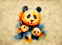 "Rodney Weng Signed ""Panda Love"" 26x36 Original Oil Panting on Linen (PA LOA) at PristineAuction.com"