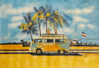"""Rodney Weng Signed """"Coast Line Drive"""" 26x38 Original Oil Panting on Linen (PA LOA) at PristineAuction.com"""