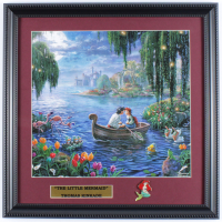 "Thomas Kinkade ""The Little Mermaid"" 16x16 Custom Framed Print Display with Princess Ariel Pin at PristineAuction.com"