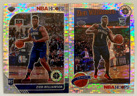 Set of (2) Zion Williamson 2019-20 Hoops Premium Stock Silver Prizms Basketball Cards with #258 & #296 at PristineAuction.com