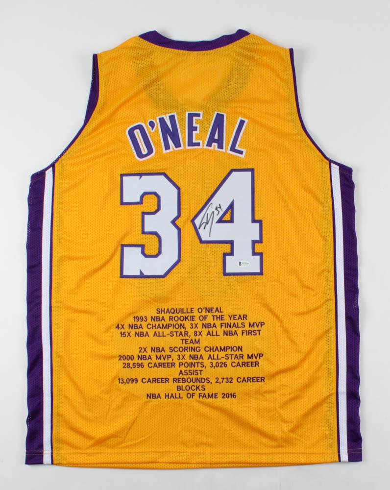 Shaquille O'Neal Signed Career Highlight Stat Jersey (Beckett ...