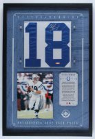 Peyton Manning Signed LE 1/1 Colts Game-Worn Jersey Numbers Patch 20x30 Custom Framed Display (UDA COA) at PristineAuction.com